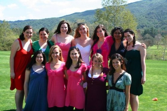 Apparently her and I don't have any pictures together on our own so here she is (in red on the far left) fearlessly leading our A Capella group in college:)